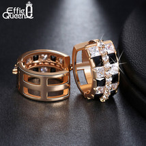 Effie Queen Beautiful Black/clear Mix Color Zircon Stud Earrings High Po... - $12.42