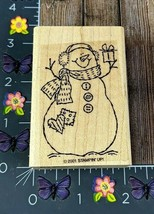 Stampin' Up! Snowman Gift Rubber Stamp 2001 Winter Country Stitch Wood #N154 - $4.70