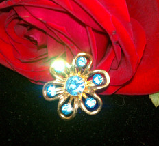 Sky Blue gold tone scatter pin brooch gold tone vintage flower - $15.00