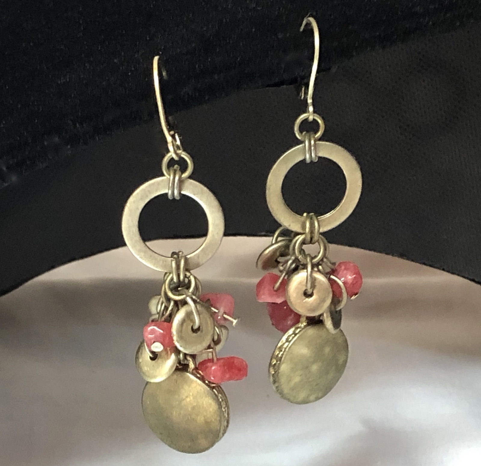 Primary image for Vintage Brass/Coral Colored Beads Open Circle Dangle Pierced Earrings~Boho Gypsy