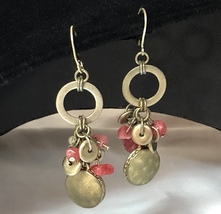 Vintage Brass/Coral Colored Beads Open Circle Dangle Pierced Earrings~Bo... - $15.20