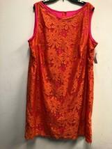 KARIN STEVENS WOMEN'S LACE DRESS SLEEVELESS ORANGE/ PINK , SZ 20W - $33.24