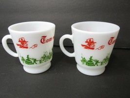 Vintage Christmas Tom & Jerry Deer Fawn Hazel Atlas Milk Glass Cups Mugs... - $24.74