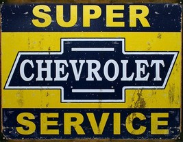 Chevrolet Super Service Vintage-Looking Metal Sign DES-1355 - $18.32