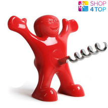 HAPPY MAN BOTTLE CORKSCREW BEER TOOL GIFT PARTY RED TOOL DRINK FUNNY NOV... - $12.86