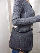 RARE KATE SPADE Cobble Hill Straw Small Emma Black Cross Body Hobo Handbag - $167.31
