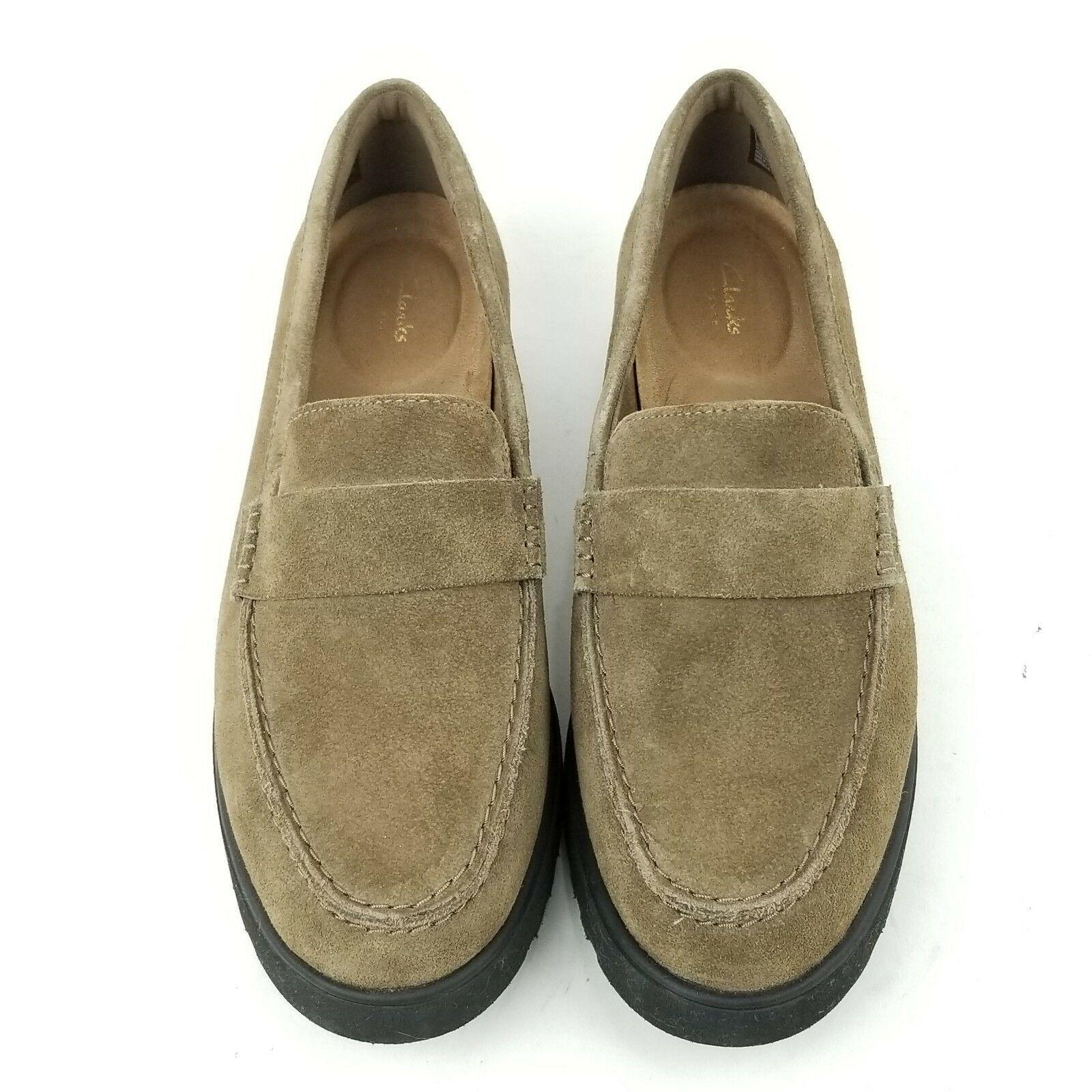 Clarks Artisan Bellevue Hazen Suede Olive Loafers Slip On Shoes 6.5 W