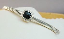David Yurman Sterling Albion Black Onyx & Diamond 4mm Cable Cuff Bracelet - $350.00