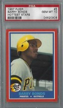 1987 Fleer Hottest Stars Barry Bonds ROOKIE Graded PSA 10 GEM MINT 50/50... - $163.35