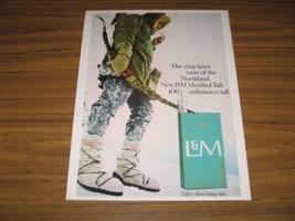 1967 Print Ad L&M Menthol Tall Cigarettes Bow Hunter in Snow - $11.04