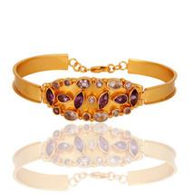 Yellow Gold Plated 925 Silver Amethyst Gemstone Bangle / Bracelet Jewelry - $84.15