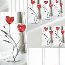 6 HEART Silver Candelabra Ruby Romantic Candleholder Wedding Centerpiece... - $60.34