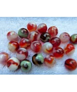 20+ VINTAGE GLASS MARBLES   1/2 INCH SIZE  MIXED RED & WHITE COLORS   NICE - $14.80