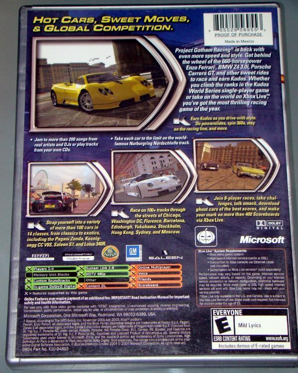 XBOX - PROJECT GOTHAM RACING 2 (Complete with Manual)
