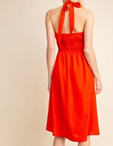 Red Halter Top Dress, Red Button Up Dress, Halter Top Dress, Womens image 4