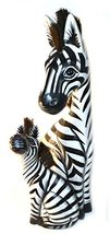 Hand Carved Wooden Set 2 African Mother Baby Zebra Statue - $39.54