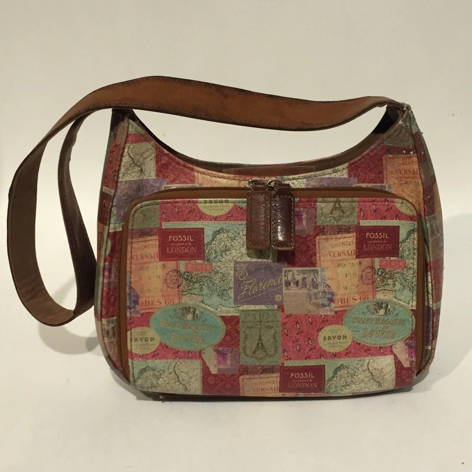 Vintage Small FOSSIL Shoulder Bag Printed Leather Organizer