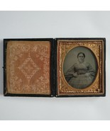 Antique Ambrotype Young woman Hand Tinted 1850s Civil War era original cond - $395.99
