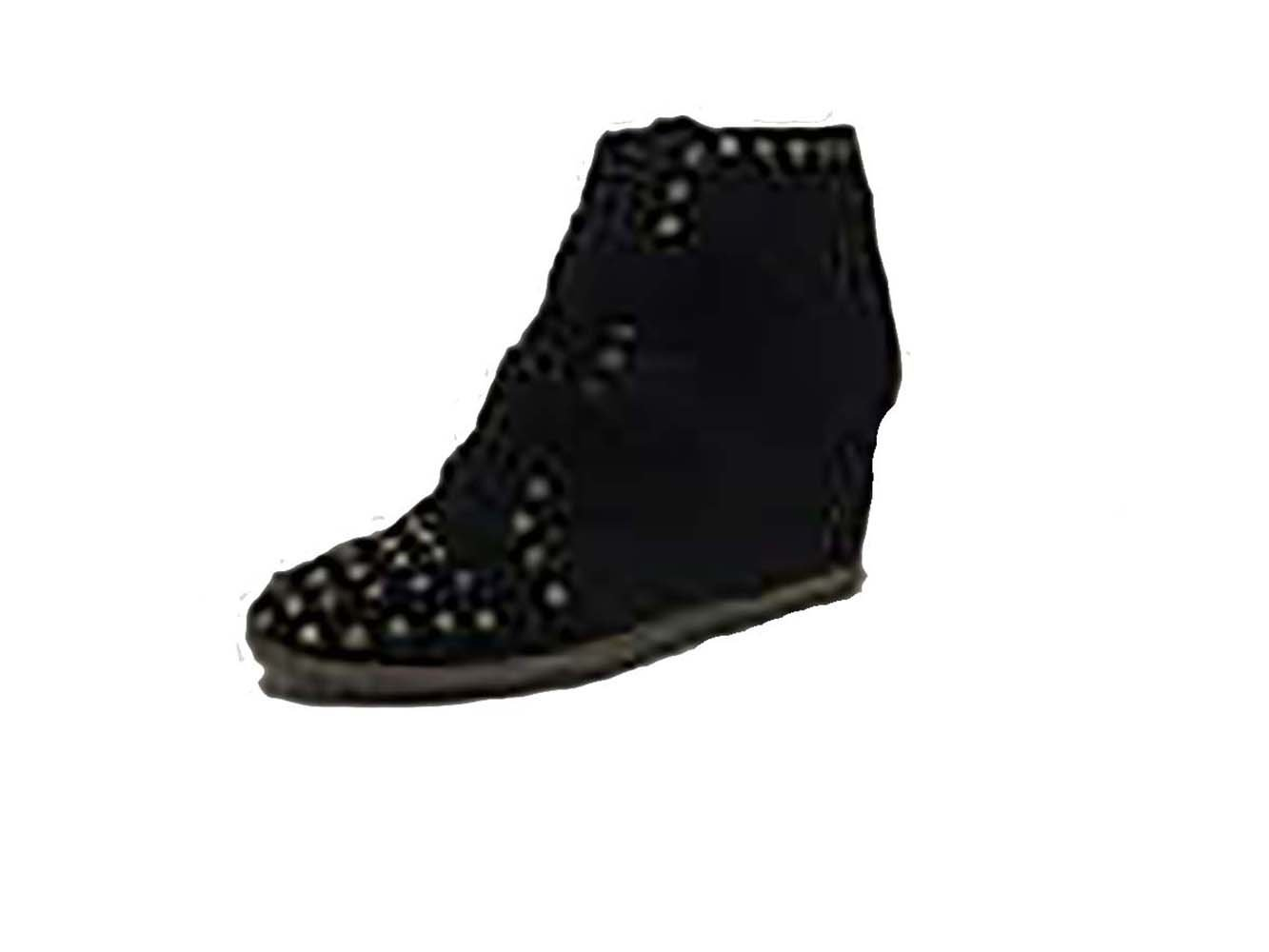 Be&d Maison Dumain Hey Stud Wedge Women .Black Canvas with Gold. - $54.99