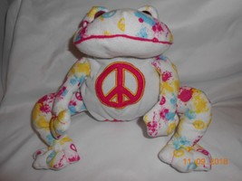 Cute rare Plush Funky Frogs Peace Frog tie-dyed 2010 glass eyes - $15.83
