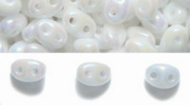 White Pearl AB Czech Glass Twin Hole Beads, superduo 5 mm x 2.5 mm, 50 gram  - $8.00