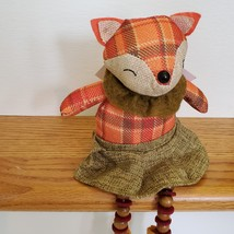 Fox Shelf Sitter, Plaid Fabric, girl fox with tweed skirt and ruffle, fall decor image 5