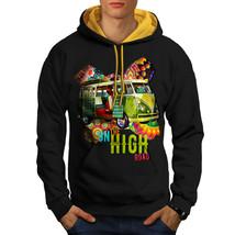 Road Trip Adventure Sweatshirt Hoody Groovy Van Men Contrast Hoodie - $23.99+