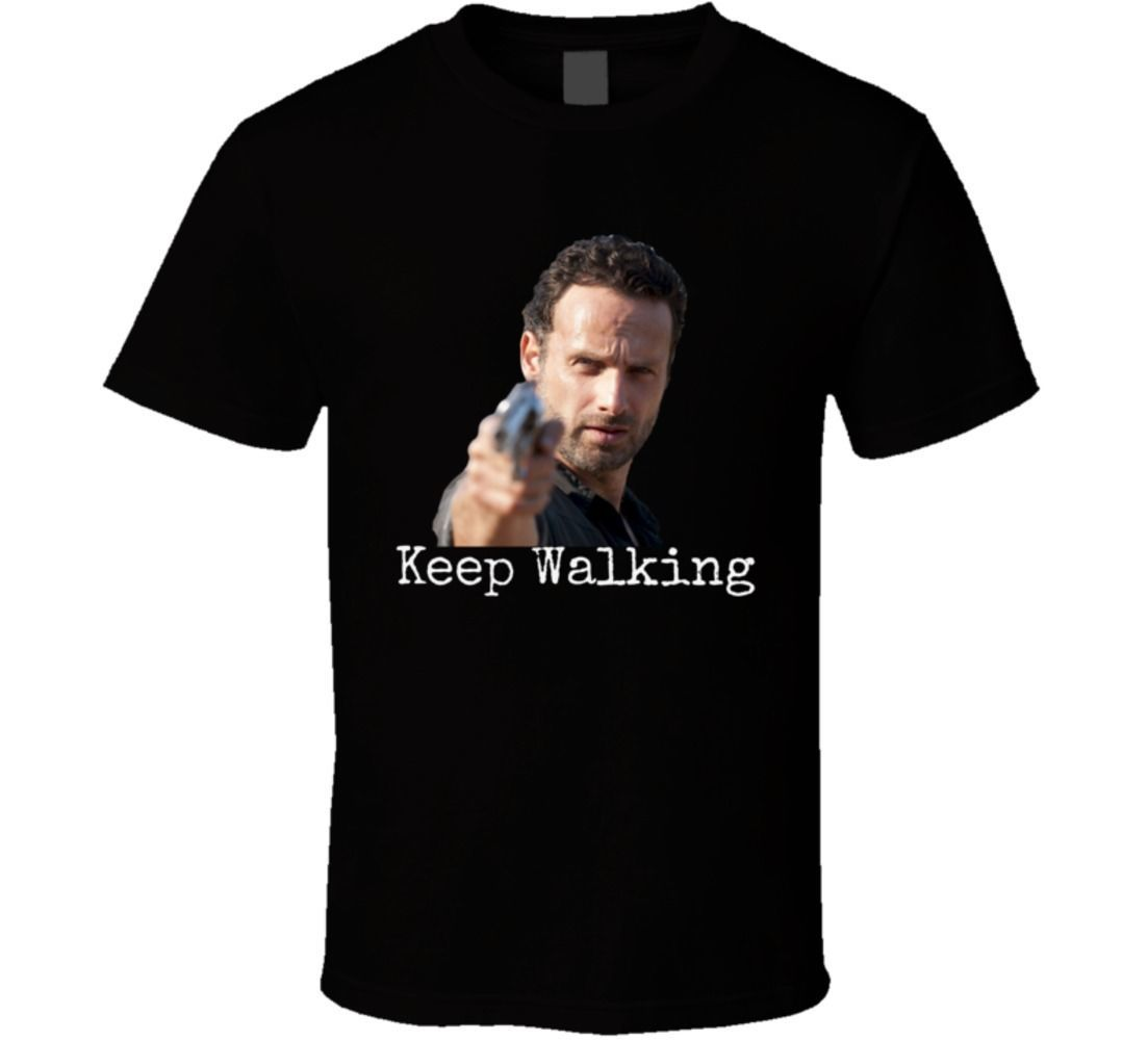 Rick Grimes Keep Walking T Shirt Walking Dead Novelty Andrew Lincoln Gift Tee