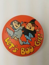 Round 1980 Hallmark Holiday Halloween Pin Let's BOO-Gie Witch Werewolf Dancing - $9.65