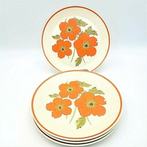 Lenox Temper-Ware DINNER PLATES Fire Flower Orange Poppies Set of 4 - $29.88