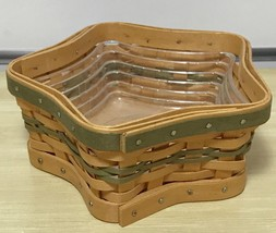 Longaberger Tree Trimming Star Basket W Protector Box Green Accents New ... - $32.62