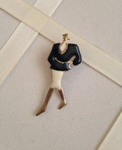 Vintage Lady Black White Enamel Gold Tone Fashion Brooch - $15.00
