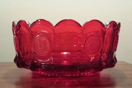 """Fostoria Ruby Red """"FROSTED COIN GLASS"""" Bowl Perfect gift for Christmas R... - $20.99"""