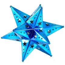 "Small 6.5"" Hanging Tin Indigo Blue Mexican Moravian Star Ornament Decoration image 3"