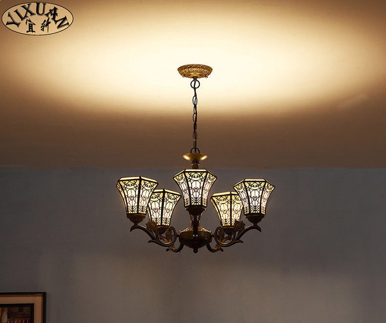 Primary image for Tiffany Style Stained Glass Art Mission Light Chandelier Ceiling Lamp Lighting