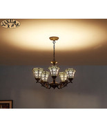 Tiffany Style Stained Glass Art Mission Light Chandelier Ceiling Lamp Li... - $5.369,80 MXN