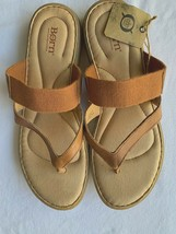 BORN NEVIS Thong Strap Sandals Leather Slides Elastic Strap Brown 11M NEW - $50.00