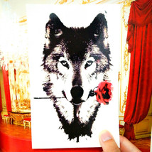 Tattoo Sticker Grey Wolf Temporary - $5.99+