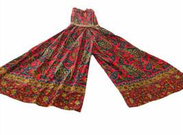 Vtg Boho Paisley Wide Leg 1960s Halter Jumpsuit Size 7 AMAZiNG - $148.49