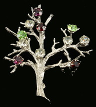"Vintage Sterling Tree Of Life Abstract Brutalist Color Crystal Paste Pin 2"" - $67.49"