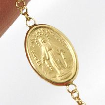 18K YELLOW GOLD  ROSARY BRACELET, 5 MM SPHERES, CROSS & MIRACULOUS MEDAL image 4