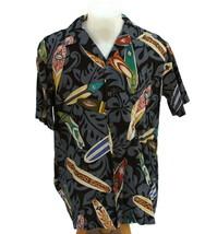 Hilo Hattie Mens Aloha Hawaiian Shirt Surfboards Longboards Black Made I... - $23.33