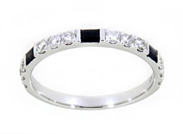 0.29 Blue Sapphire Gemstone 14K White Gold Real Diamond Eternity Band Je... - $1,721.00