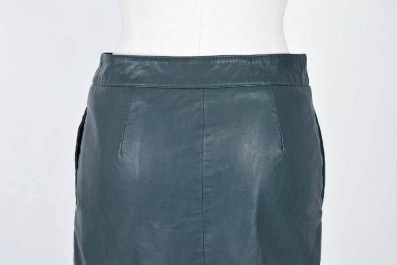MAEVE Anthropologie Green Faux Leather Straight Pencil Midi Knee Skirt 4 / 29""