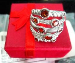 Judith Ripka NEW Sterling Multi Row Citrine & Topaz Ring Size 5 Ring Gif... - $119.95