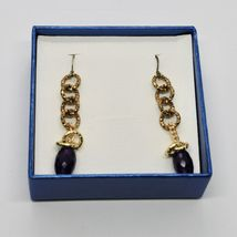 Drop Earrings Aluminum Laminated Yellow Gold with Amethyst Purple Oval image 4
