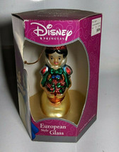 Walt Disney Snow White European Style Glass Ornament Santa's Best Hand C... - $20.78