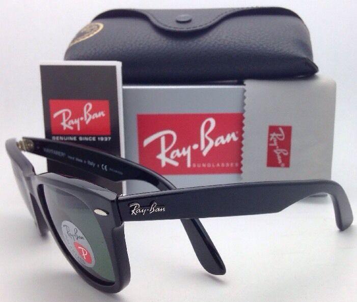 New Ray-Ban Polarized Sunglasses RB 2140 901/58 54-18 WAYFARER Black Frame/Green