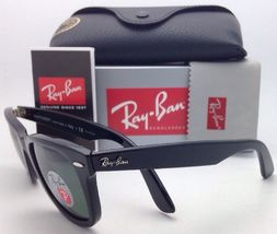New Ray-Ban Polarized Sunglasses RB 2140 901/58 54-18 WAYFARER Black Frame/Green image 5
