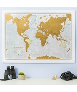 Map World Scratch Off Poster Travel Journal Wall Hanging Home Office Dec... - $44.54